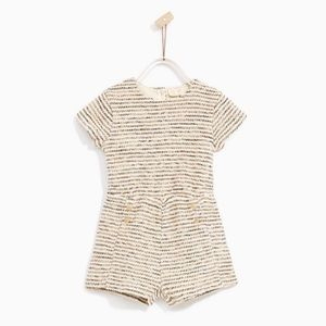 Zara Girl Textured Weave Jumpsuit Size 9-12 Mos